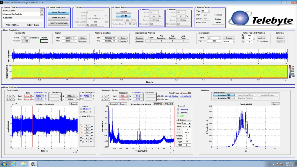 Telebyte Model 4975 screenshot showing noise capture. Used to replicate noise environments during lab testing.