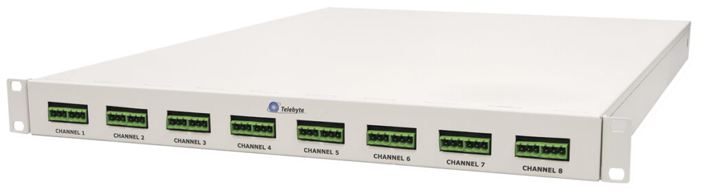 Telebyte Model 4960 emulates eight channels of two-wire spur cable segments between a 10Base-T1L field Power Switch and field Powered Devices (PD). Used for Single Pair Ethernet (SPE) PHY testing.